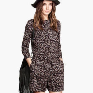 H&M black floral long sleeve romper